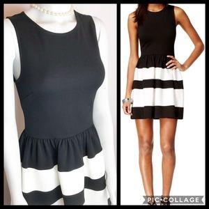 BAR III Black White Fit & Flare Dress